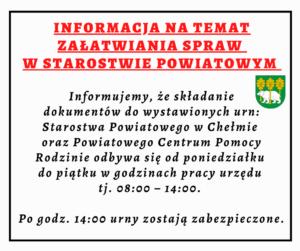 Informacja na temat załatwiania spraw w Starostwie Powiatowym
