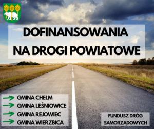 Plakat dofinansowania na drogi powiatowe