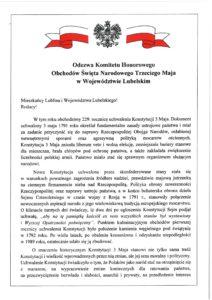 Odezwa Komitetu Honorowego Obchodów Święta Narodowego Trzeciego Maja w Województwie Lubelski - część 1