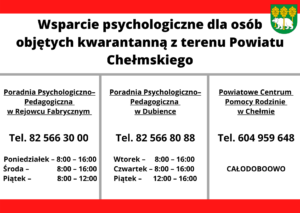 Informacja wsparcie psychologiczne dla osób objętych kwarantanną z terenu Powiatu Chełmskiego