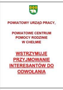 Komunikat PUP PCPR wstrzymanie przyjmowania interesantów
