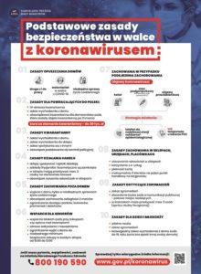 Plakat podstawowe zasady bezpieczeństwa w walce z koronawirusem